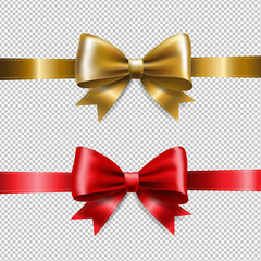 Golden And Red Ribbon Bows