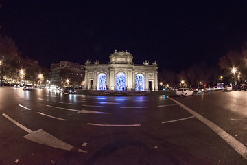 Fisheye. Christmas lights in the streets of the Madrid City, Spain. Plaza de Alcala