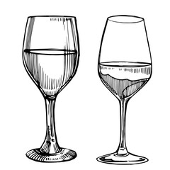 Wine glasses. Sketch vintage illustration. Isolated on white background. Hand drawn engraving style illustrations.