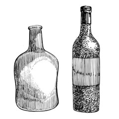 Red wine bottle, sketch style vector illustration isolated on white background. Realistic hand drawing. Engraving style illustrations.