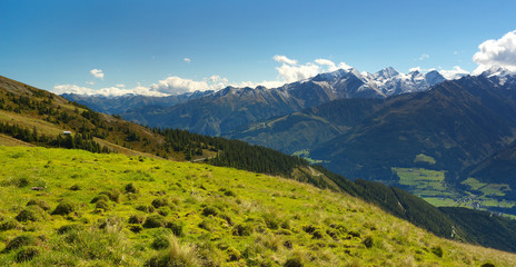 Mountain landscape way with Hohe Tauern on backround, Austria
