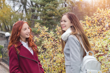 Two happy young girls at bright autumn background