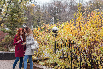 Two female teenagers looking for the news in the smartphone in the autumn city park