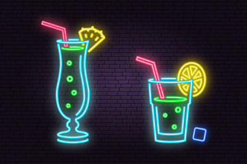 Set of cocktail neon emblem.Vector illustration.