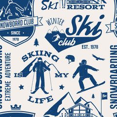 Ski and Snowboard Club seamless pattern. Vector illustration.