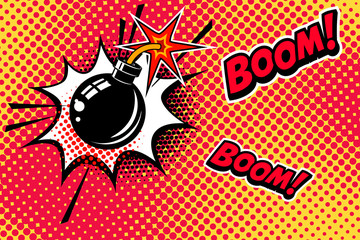 Comic book style background with bomb explosion. Design element for banner, poster, flyer.