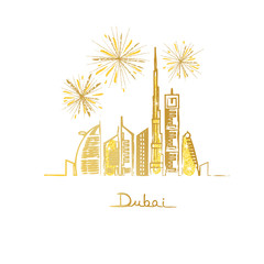 Dubai cityscape with skyscrapers and landmarks and fireworks in the sky vector illustration.  Golden glitter.