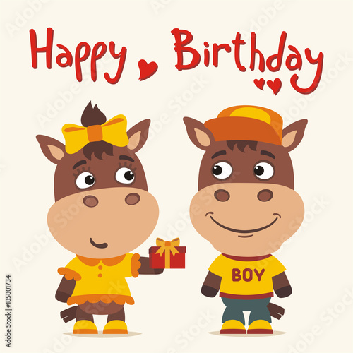 Happy Birthday Greeting Card Funny Horse Girl Gives Gift To Boy For