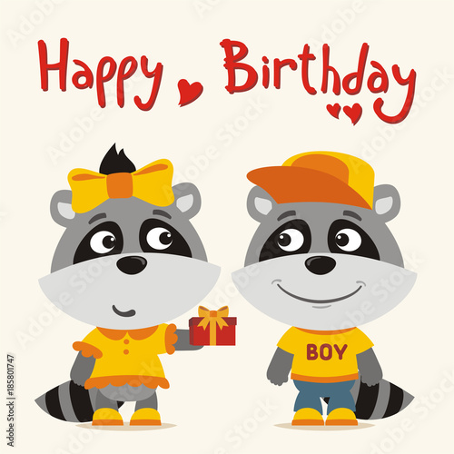 Happy Birthday Greeting Card Funny Raccoon Girl Gives Gift To Boy For