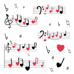 A musical mill with stylized notes, violin and bass keys, hearts. Musical romantic background. White background, red and black colors.