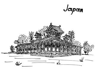japan sketch work temple hand drawn postcard