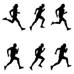 set men runner black silhouette vector illustration