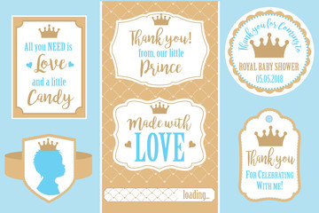 Set of vector vintage frames. Templates gift tags for royal party( wedding, baby shower, birthday) Candy wrappers, stickers, labels for little prince sweet table. Golden crown and blue