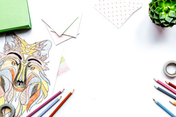 coloring picture for adults on white background top view mockup