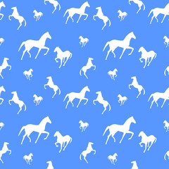 Horses seamless pattern. Texture for wallpaper, fills, web page background.