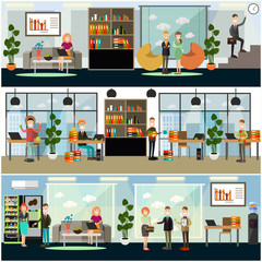 Vector set of business posters, banners in flat style