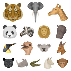 Wild animal cartoon icons in set collection for design. Mammal and bird vector symbol stock web illustration.