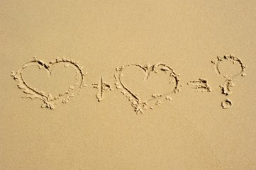 <3 + <3 = ?  Two heart equation drawn in the sand, ending with a question mark.
