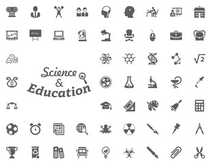 Science and education letter icon. science and education vector icons set.