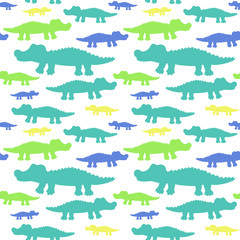 Cartoon cute crocodiles seamless vector pattern