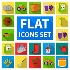 Farm and gardening flat icons in set collection for design. Farm and equipment vector symbol stock web illustration.