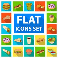 Fast food flat icons in set collection for design.Food from semi-finished products vector symbol stock web illustration.