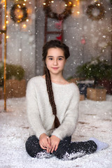girl in the photo shoot. snow. fun, Christmas trees. new Year