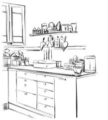 Kitchen cupboard, kitchen shelves, hand drawn interior
