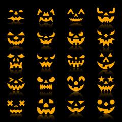 Halloween pumpkin color silhouette face icon set