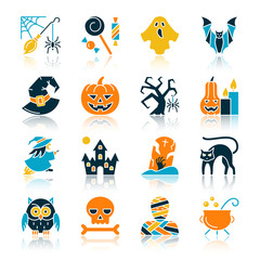 Halloween color flat silhouette icon set