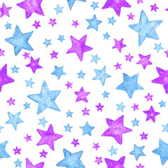 Hand painted watercolor blue and purple stars. Seamless pattern background