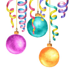 Watercolor spiraled ribbons and Christmas tree balls. New Year decoration