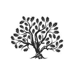 Huge and sacred oak tree silhouette logo badge isolated on white background. Modern vector national tradition green plant icon sign design.  Premium quality organic bonsai logotype flat illustration.