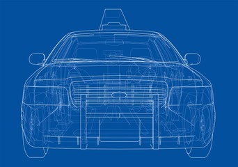 Taxi outline drawing. Vector