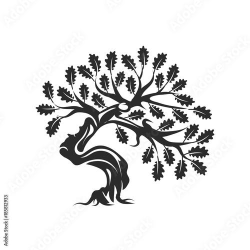 u0026quot huge and sacred oak tree silhouette logo badge isolated