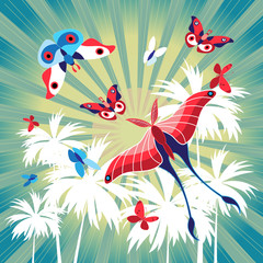 Bright summer card with palm trees and butterflies