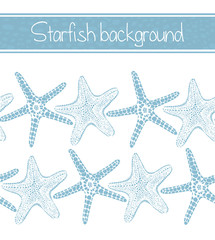 Seamless Background with Starfishes. Sea Pattern in Hand Drawn Graphic Style for Surface Design Cards Invitations Banners Web. Vector Illustration