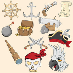 illustration of symbols and objects associated with piracy
