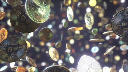 Multiple falling bitcoin tokens. 3D rendering
