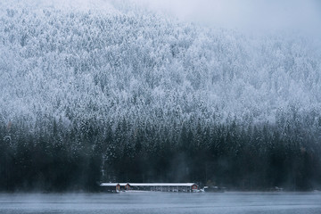 Boat house at Lake Eibsee with pine forest during early winter on a blue hour moody day, bavaria, Germany