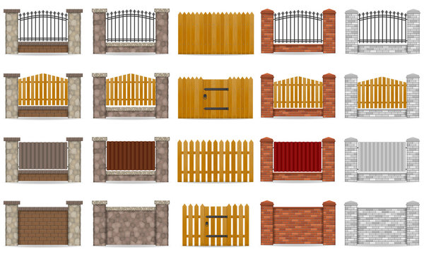 set icons fence made from wooden stone brick vector illustration