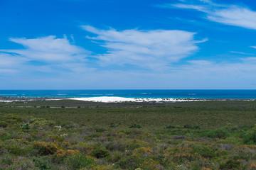 Blick über eine Küstenlandschaft mit Sanddüne und Meer im Hintergrund in West-Australien