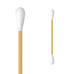 Realistic cotton ear swab. Vector illustration of wooden ear stick.