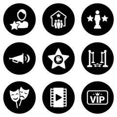 Set of simple icons on a theme Cinema, vector, design, collection, flat, sign, symbol,element, object, illustration, isolated. White background
