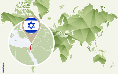 Infographic for Israel, detailed map of Israel with flag.