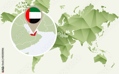 Infographic for United Arab Emirates, detailed map of UAE with flag ...