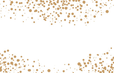 Vector golden round confetti frame isolated on black background
