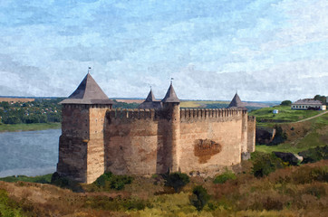 Beautiful landscape with ancient medieval fortress in Khotyn on hill above Dnister river.