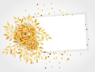 Gold Line Floral invitation