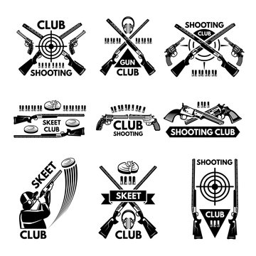 Labels set for shooting club. Illustrations of weapons, bullets, clay and guns